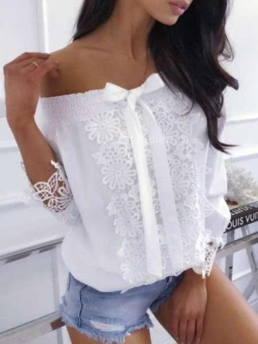Off shoulder Bowknot Lacing Print Blouses