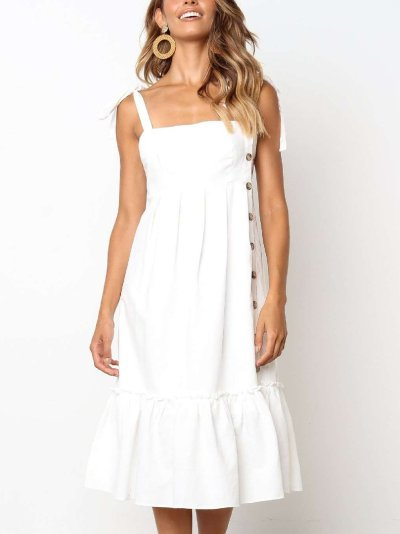 Pure Sleeveless  Fastener Vest Maxi Dresses