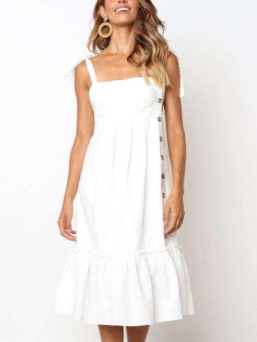 Pure Sleeveless  Fastener Vest Maxi Dresses