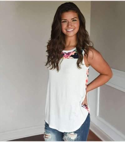 Loose Round neck Print Sleeveless T-Shirts