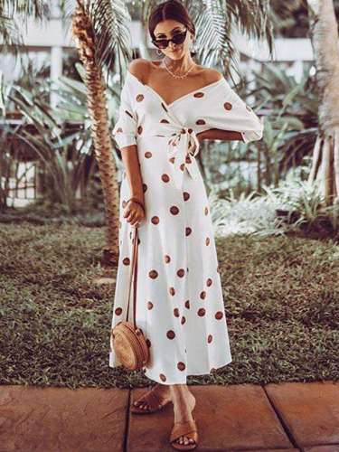 Polka-dot Off-the-shoulder Maxi Dress