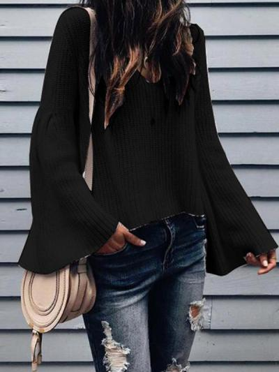 Loose V-neck  long-sleeved sweaters