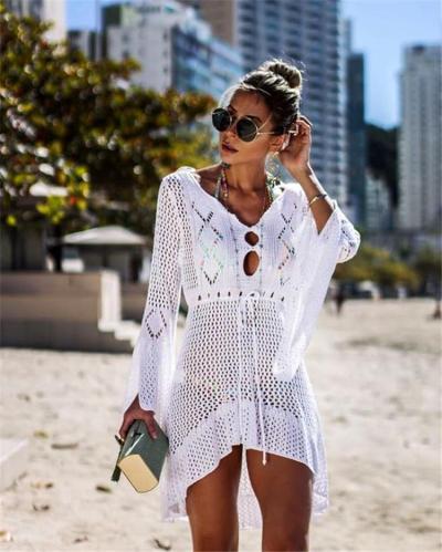 Hollow Knit Crocheted Flared Sleeve Bikini Suntan Dress