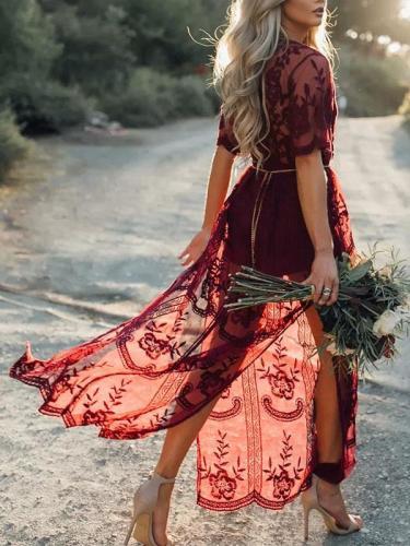 Wine Lace Sexy V neck Half Sleeve Woman Long Dress Vacation Dresses