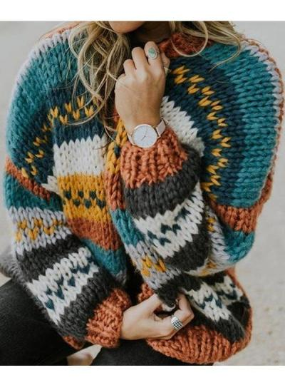 Multicolor patchwork sweater casual stripe cardigan coats