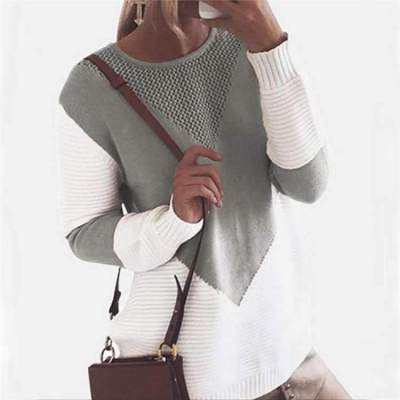 Fashion Knit Round neck Long sleeve Gored Sweaters