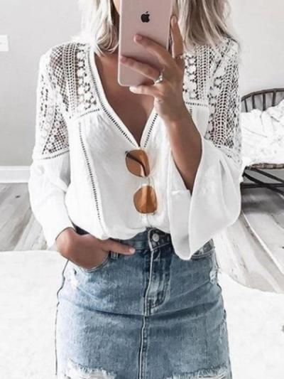 Fashionable v-neck lace patchwork flared sleeves BLOUSE