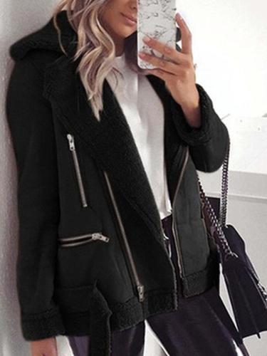 Women fashion warm short big lapel plain zipper short coats blazers