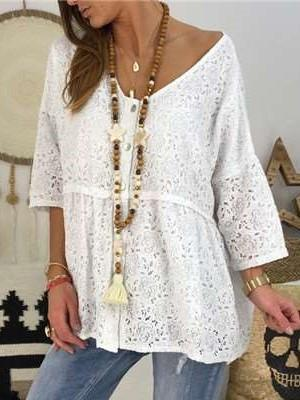 Casual Loose Pure Lace Hollow out Long sleeve T-Shirts
