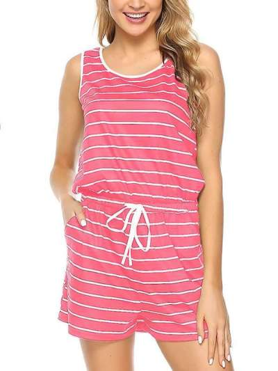 Casual Striped sleeveless drawstring jumpsuit
