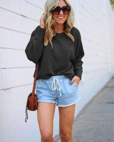 Fashion Casual Pure Round neck Long sleeve Sweatshirts