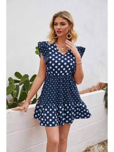 Fashion Point print V neck Falbala Skater Dresses