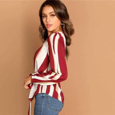 Stripe Round neck Long sleeve Lacing Blouses