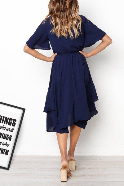 Fashion  Round neck Short sleeve Skater Dresses