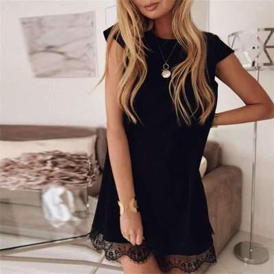 Fashion Round neck Lace Short sleeve Shift Dresses