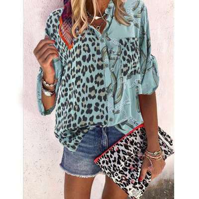 Fashion Print Long sleeve Stand collar Blouses