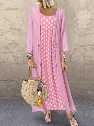 Loose Polka dot long sleeve plus-size two-pieces maxi dresses