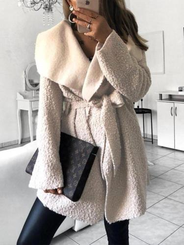 Fashion Lapel Belt Long Sleeve Plain Casual Jackets