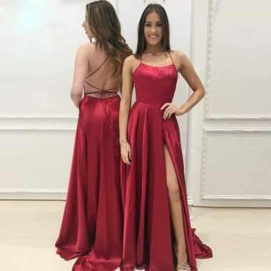 Fashion Pure Halter Backless Evening Dresses