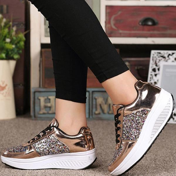 Women Sequined platform wedge shoes Sneakers