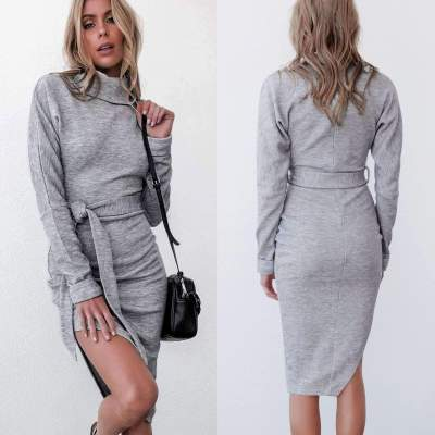 Casual Pure Lacing Irregular Vent Skater Dresses