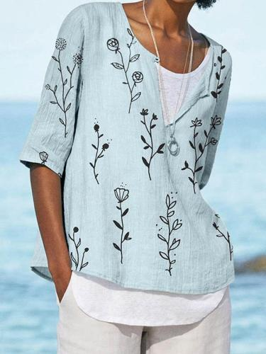 Cotton and linen blend printed button blouses