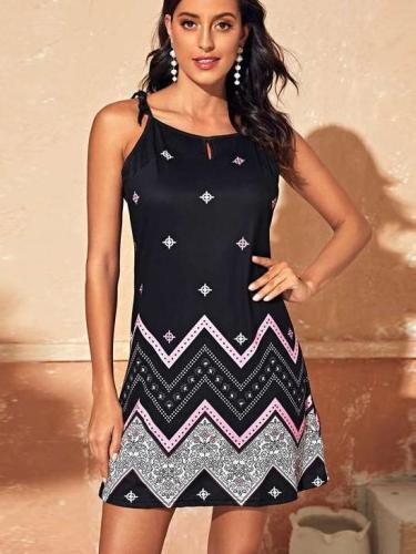 Fashion Print Vest Sleeveless Shift Dresses