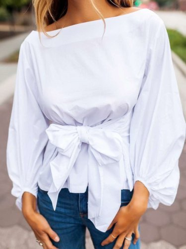 Bowknot Lacing Pure Blouses