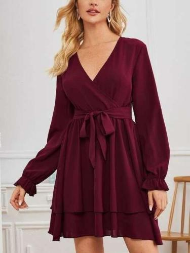 Pure V neck Long sleeve Lacing Skater Dresses