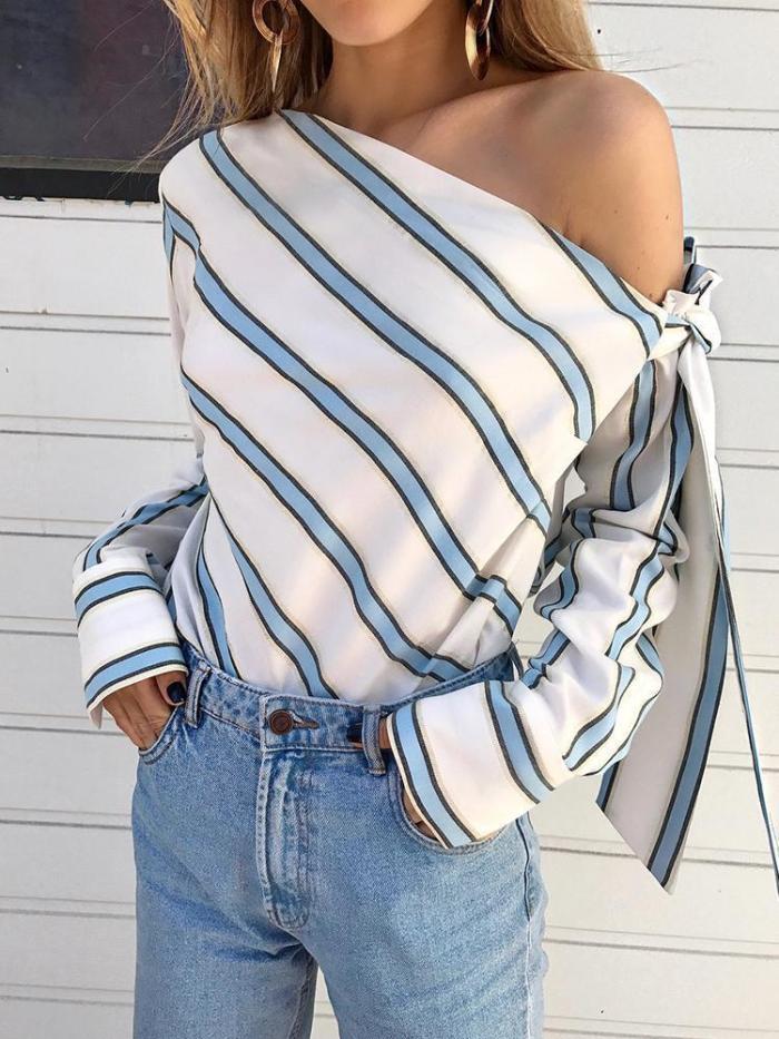Shoulder slope Bowknot Long sleeve Blouses