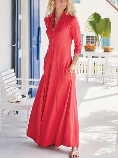 Fashion Sexy Pure Lapel Long sleeve Zipper Pocket Maxi Dresses