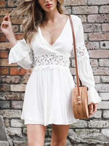 Chic White Long sleeve v-neck lace patchwork Min Skater dresses