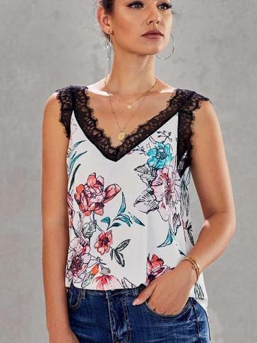 Loose Print Lace V neck Vests