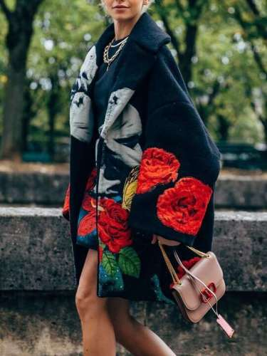 Fashion Casual Print Lapel Long sleeve Coats