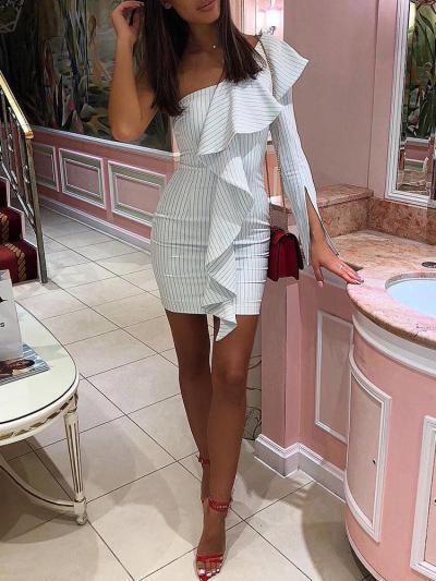 Fashion Single shoulder Stripe  Falbala Bodycon Dresses
