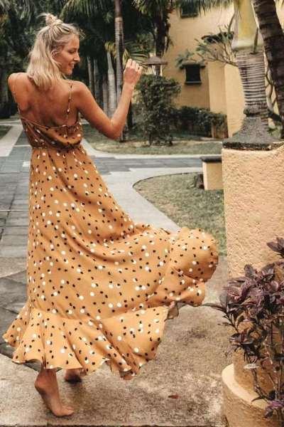 Fashion Point print V neck Vest Backless Falbala Maxi Dresses