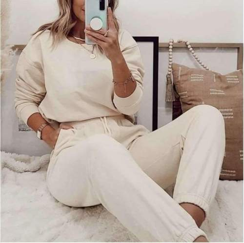 Fashion Casual Pure Round neck Long sleeve Suit