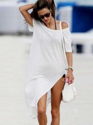 Fashion Off shoulder Short sleeve Maxi Dresses