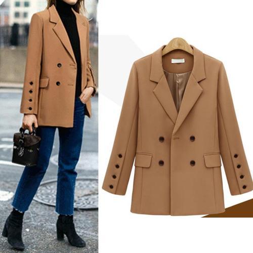 Fashion Lapel Pocket Button Plain Long Sleeve Blazers Coats For Woman