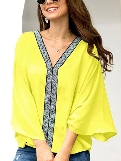 Fashion Pure V neck Gored T-Shirts for Women