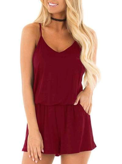 Fashion Pure Vest V neck Jumpsuits