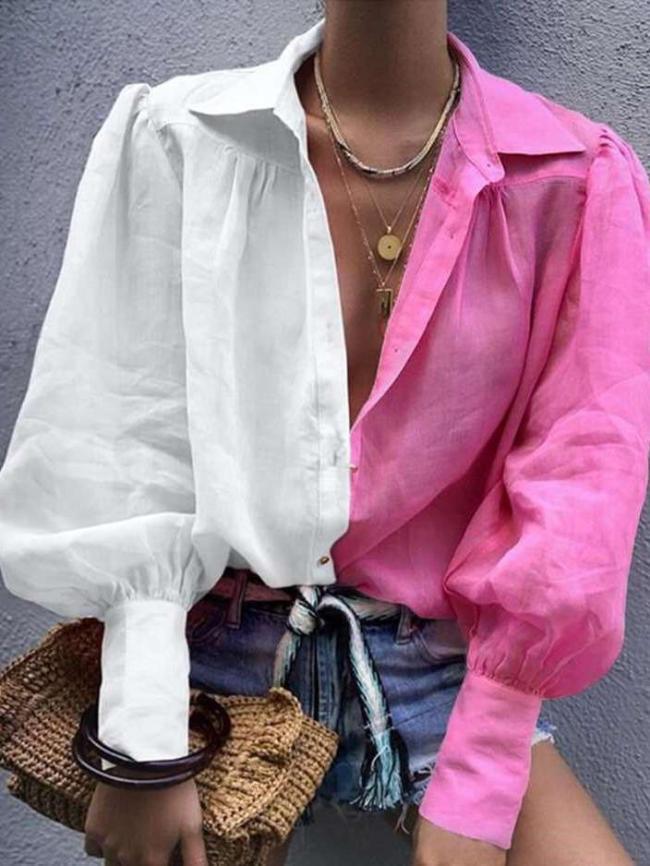 Fashion Lapel Gored Long sleeve Blouses