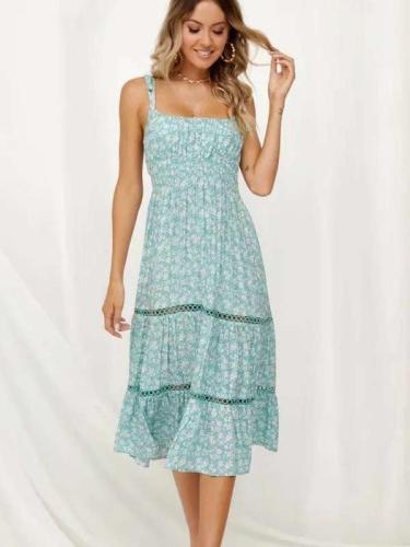 Printed Hollow Split-joint Spaghetti-neck Maxi Dress