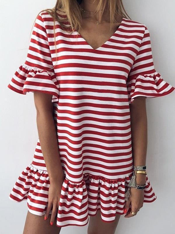 Casual v-neck short dress  flounce sleeve stripe shift dresses