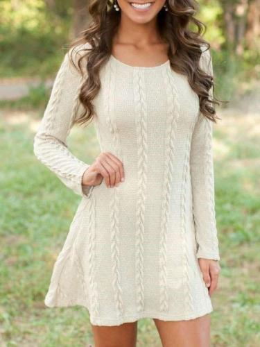 Fashion Plus Round neck Long sleeve Knit Vent Shift Dresses