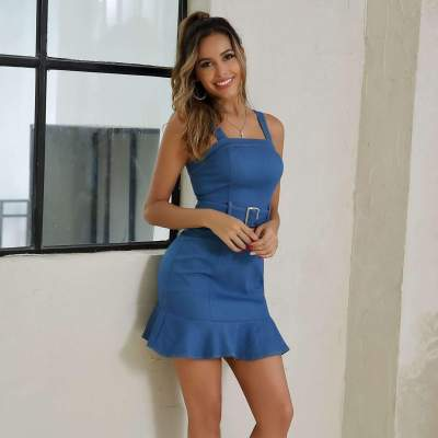 Fashion Pure Vest Falbala Jeans Belt Bodycon Dresses