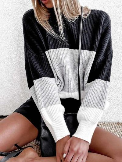 Fashion Casual Round neck Gored Long sleeve Sweaters