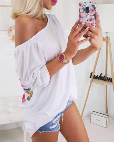 Fashion Print Short sleeve Backless T-Shirts