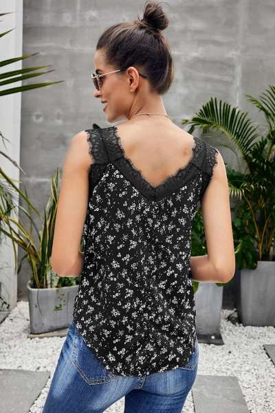 Loose Print Lace V neck Vests