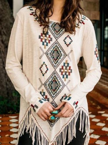 Round collar fashion printed fringe long sleeve T-shirts